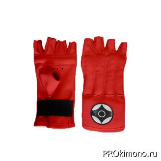Шингарты детские для карате Киокушинкай открытые красные канку черный натуральная кожа