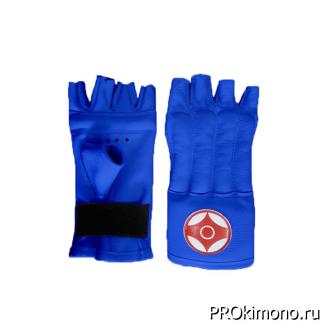 Шингарты детские для карате Киокушинкай открытые синие канку красный натуральная кожа