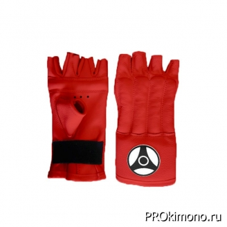 Шингарты детские для карате Кёкусин-кан открытые красные канку черный натуральная кожа