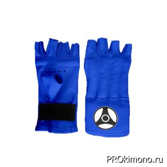 Шингарты детские для карате Кёкусин-кан открытые синие канку черный натуральная кожа