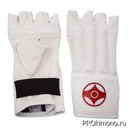 Шингарты для карате Киокушинкай открытые белые канку красный натуральная кожа