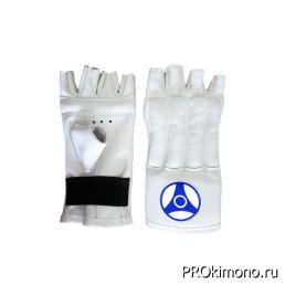 Шингарты для карате Кёкусин-кан открытые белые канку синий искусственная кожа