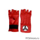 Шингарты для карате Кёкусин-кан открытые красные канку черный натуральная кожа