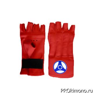 Шингарты для карате Кёкусин-кан открытые красные канку синий натуральная кожа