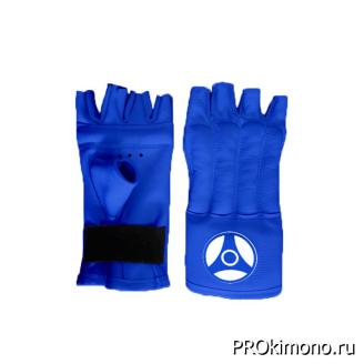 Шингарты для карате Кёкусин-кан открытые синие канку синий натуральная кожа