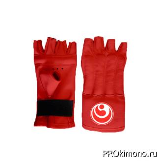 Шингарты для карате Шинкиокушинкай открытые красные кокоро красный натуральная кожа