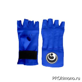 Шингарты для карате Шинкиокушинкай открытые синие кокоро черный натуральная кожа