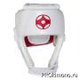 Шлем BFS модель - KYOKUSHINKAI открытый белый для карате Киокушинкай канку красный натуральная кожа