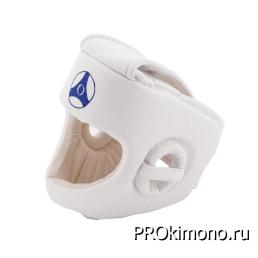 Шлем BFS модель - KYOKUSHINKAN белый для карате Кёкусин-кан с защитой подбородка натуральная кожа