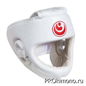 Шлем BFS модель - SHINKYOKUSHINKAI белый для карате Шинкиокушинкай с защитой подбородка искусственная кожа
