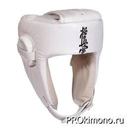 Шлем BFS модель - KYOKUSHINKAI детский открытый белый кандзи черный натуральная кожа