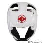 Шлем детский для карате Киокушинкай открытый белый канку красный искусственная кожа