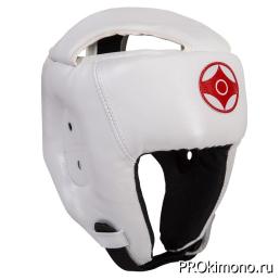 Шлем детский для карате Киокушинкай открытый белый канку красный натуральная кожа