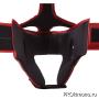 Шлем детский для карате Киокушинкай открытый красный канку черный искусственная кожа