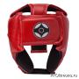 Шлем детский для карате Киокушинкай открытый красный канку черный натуральная кожа