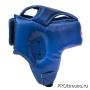 Шлем детский для карате Киокушинкай открытый синий канку красный натуральная кожа
