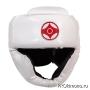 Шлем детский для карате Киокушинкай с закрытым подбородком и скулами белый канку красный искусственная кожа