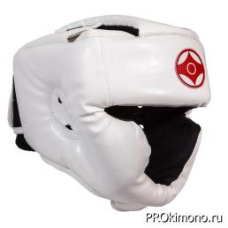 Шлем детский для карате Киокушинкай с закрытым подбородком и скулами белый канку красный натуральная кожа