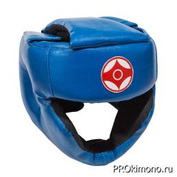Шлем детский для карате Киокушинкай с закрытым подбородком и скулами синий канку красный искусственная кожа