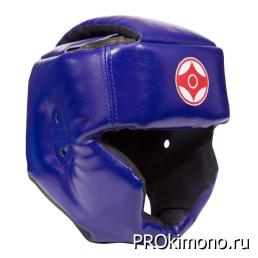 Шлем детский для карате Киокушинкай с закрытым подбородком и скулами синий канку красный натуральная кожа