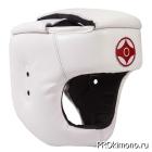 Шлем детский для карате Киокушинкай с защитой темени белый канку красный натуральная кожа