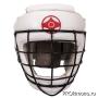 Шлем детский для карате Киокушинкай закрытый со стальной маской белый канку красный искусственная кожа