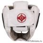 Шлем детский для карате Киокушинкай закрытый со стальной маской белый канку красный натуральная кожа
