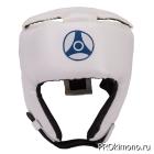 Шлем детский для карате Кёкусин-кан открытый белый канку синий искусственная кожа