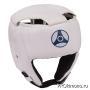 Шлем детский для карате Кёкусин-кан открытый белый канку синий натуральная кожа