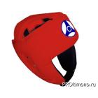 Шлем детский для карате Кёкусин-кан открытый красный канку синий натуральная кожа