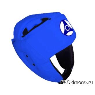 Шлем детский для карате Кёкусин-кан открытый синий канку синий натуральная кожа