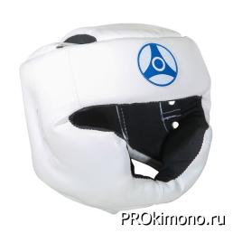 Шлем детский для карате Кёкусин-кан с закрытым подбородком и скулами белый канку синий натуральная кожа