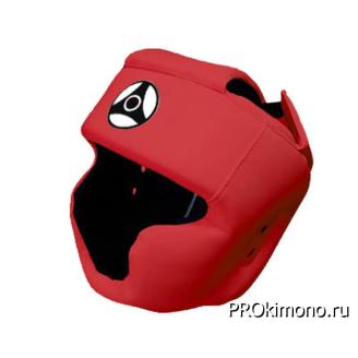Шлем детский для карате Кёкусин-кан с закрытым подбородком и скулами красный канку черный натуральная кожа