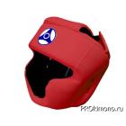 Шлем детский для карате Кёкусин-кан с закрытым подбородком и скулами красный канку синий натуральная кожа