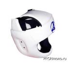 Шлем детский для карате Кёкусин-кан с защитой темени белый канку синий натуральная кожа