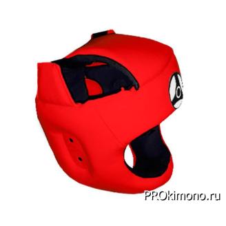 Шлем детский для карате Кёкусин-кан с защитой темени красный канку черный натуральная кожа
