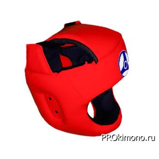 Шлем детский для карате Кёкусин-кан с защитой темени красный канку синий натуральная кожа