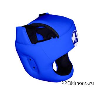 Шлем детский для карате Кёкусин-кан с защитой темени синий канку синий искусственная кожа