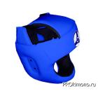 Шлем детский для карате Кёкусин-кан с защитой темени синий канку синий натуральная кожа