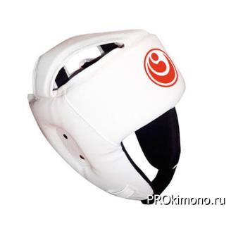 Шлем детский для карате Шинкиокушинкай открытый белый кокоро красный натуральная кожа