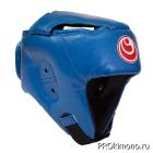 Шлем детский для карате Шинкиокушинкай открытый синий кокоро красный искусственная кожа