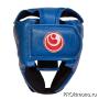 Шлем детский для карате Шинкиокушинкай открытый синий кокоро красный натуральная кожа