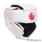 Шлем детский для карате Шинкиокушинкай с закрытым подбородком и скулами белый кокоро красный натуральная кожа