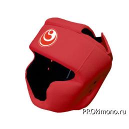 Шлем детский для карате Шинкиокушинкай с закрытым подбородком и скулами красный кокоро красный натуральная кожа