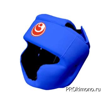 Шлем детский для карате Шинкиокушинкай с закрытым подбородком и скулами синий кокоро красный искусственная кожа