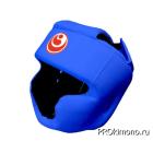 Шлем детский для карате Шинкиокушинкай с закрытым подбородком и скулами синий кокоро красный натуральная кожа