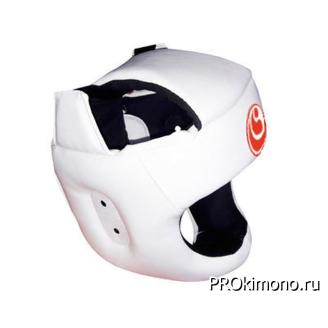 Шлем детский для карате Шинкиокушинкай с защитой темени белый кокоро красный искусственная кожа