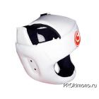Шлем детский для карате Шинкиокушинкай с защитой темени белый кокоро красный натуральная кожа