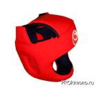 Шлем детский для карате Шинкиокушинкай с защитой темени красный кокоро красный натуральная кожа