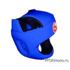 Шлем детский для карате Шинкиокушинкай с защитой темени синий кокоро красный натуральная кожа